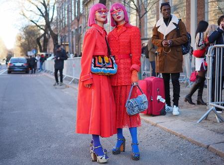 MILAN, Italy: 14 January 2019: Aya and Amiya Amiaya street style outfit after FENDI fashion show during Milan Fashion Week man Fall  winter 20192020 報道画像
