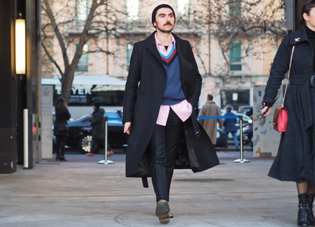 MILAN, Italy: 13 January 2019: Fashion blogger street style outfit before Neil Barrett fashion show, during Milan fashion week Man fall  winter 20192020