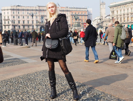 MILAN, Italy: February 20, 2019: Fashion blogger street style outfit after Alberto Zambelli fashion show during Milan fashion week Fall  winter 20192020