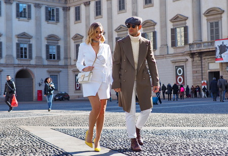 MILAN, Italy: February 24, 2019: Frank Gallucci and Giulia Gaudino street style outfit after Stella Jean fashion show during Milan fashion week Fall  winter 20192020