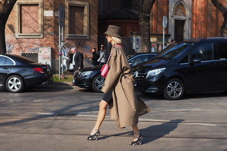 MILAN, Italy: February 21, 2019: Fashion blogger street style outfit before Fendi fashion show during Milan fashion week Fall  winter 20192020