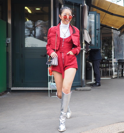 MILAN, Italy: February 23, 2019: Fashion bloggers street style outfits before Roberto Cavalli fashion show during Milan fashion week Fall  winter 20192020