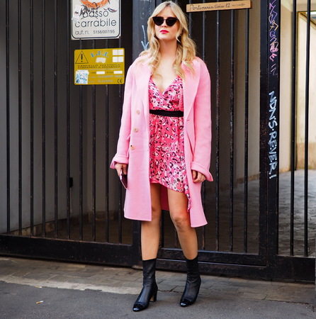 MILAN, Italy: February 20, 2019: Valentina Ferragni street style outfit before BYBLOS fashion show during Milan fashion week Fall  winter 20192020. 報道画像