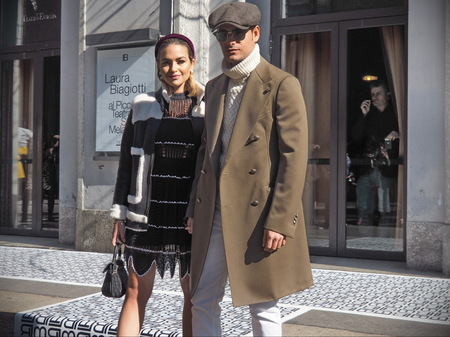 MILAN, Italy: February 24, 2019: Frank Gallucci and Giulia Gaudino street style outfit after Laura Biagiotti fashion show during Milan fashion week Fall  winter 20192020