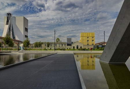 Milan, ITALY 17 August 2019: Modern Architecture in the New Square by Adriano Olivetti