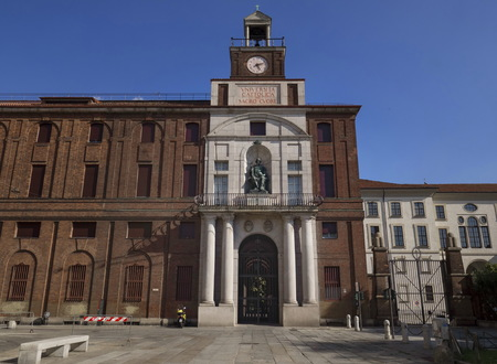 Milan, Italy: August 14, 2019: Facade and Entrance to Vniversit?? cattolica del sacro Cvore in SantAmbrogio square, Milan, Italy.