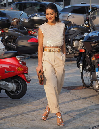 MILAN, Italy: 18 September 2019: Fashion blogger street style outfits before Alberta Ferretti fashion show during Milan fashion week Spring  Summer