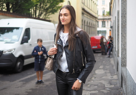 MILAN, Italy: 22 Septermber 2019: Model street style outfit after Laura Biagiotti fashion show during Milan fashion week Fall  winter