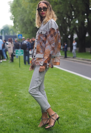 MILAN, Italy: 19 September 2019:: Candle street style outfit before Armani fashion show during Milan fashion week woman Fall  winter 20192020