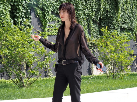 MILAN, ITALY - JUNE 16, 2018: Top model TEDDY QUINLIVAN posing for photographers after Neil Barrett fashion show, during Milan Fashion Week Men and women spring collections. collections.