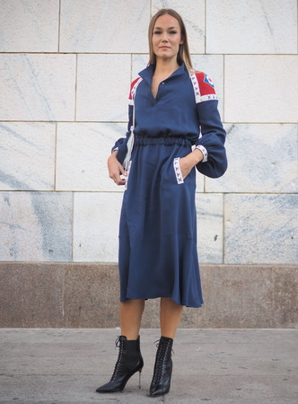MILAN, Italy: 21 September 2019: Fashion blogger in street style outfit before Stella Jean fashion show during Milan fashion week Fall  winter 20192020