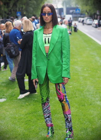 MILAN, Italy: 19 September 2019 :: Fashion blogger street style outfit before Armani fashion show during Milan fashion week woman Fall  winter 20192020