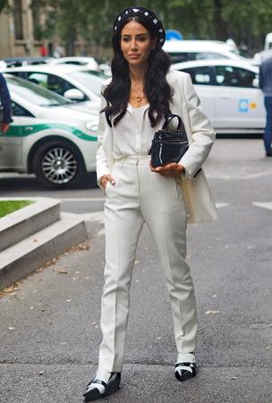 MILAN, Italy: 19 September 2019: Tamara Kalinic street style outfit before Armani fashion show during Milan fashion week Fall  winter 20192020 報道画像