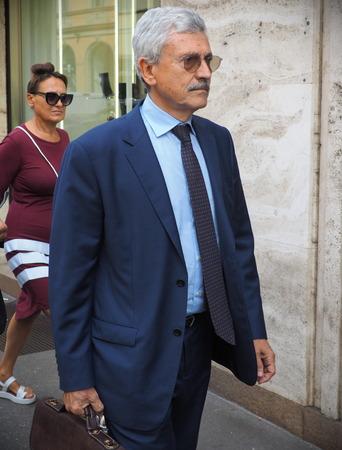 MILAN, Italy: 18 September 2019: Massimo Dalema walking in the street before Peter Pilotto fashion show during Milan fashion week Spring  Summer