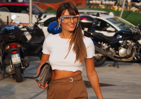 MILAN, Italy: 18 Septermber 2019: Fashion blogger Carlotta Rubaltelli street style outfit before Alberta Ferretti fashion show during Milan fashion week Spring  Summer
