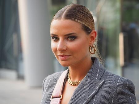 MILAN, Italy: 18 September 2019: Veronica Ferraro street style outfits before Alberta Ferretti fashion show during Milan fashion week Spring  Summer