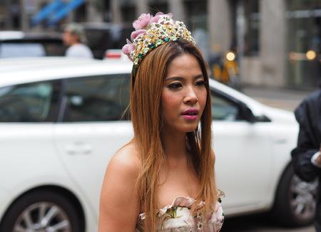 MILAN, Italy: 22 September 2019: Fashion blogger street style outfit before Dolce & Gabbana fashion show during Milan fashion week Spring  Summer 20192020