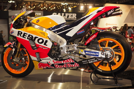 MILAN, ITALY - NOVEMBER 8: Honda Repsol of Marc Marquez exposed at EICMA, international motorcycle exhibition on NOVEMBER 8, 2018 Milan, Lombardy Editorial