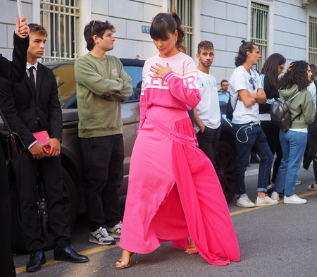 MILANO, Italy: September 20, 2019: Fashion bloggers posing in outfit style before ICEBERG fashion show during MFW spring  summer