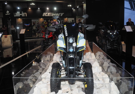 MILAN, ITALY - NOVEMBER 7, 2019: Motorbike exposed at EICMA, international motorcycle exhibition, Lombardy, Italy.