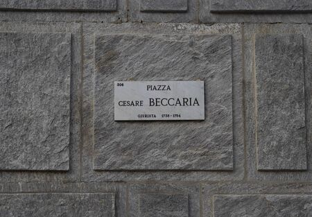 Sign of Beccaria square in Milan, Lombardy, Italy.
