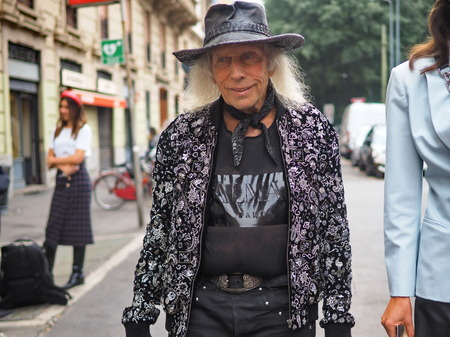 MILAN, Italy: 22 September 2019: James F. Goldstein street style outfit before Laura Biagiotti fashion show during Milan fashion week Spring  Summer Publikacyjne