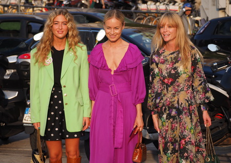 MILAN, Italy: 18 September 2019: Three Fashion bloggers street style outfits before Alberta Ferretti fashion show during Milan fashion week Spring  Summer Publikacyjne