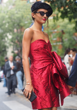 MILAN, Italy: 19 September 2019: Gabrielle Caunes on street style outfits before Armani fashion show during Milan Fashion Week Man 20192020