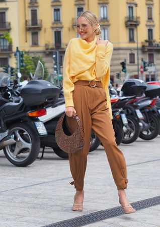 MILAN, Italy: 20 September 2019: Leonie Hanne outfit street style before Sportmax fashion show during Milan fashion week Spring  Summer 20192020 Publikacyjne