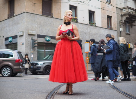 MILAN, Italy: 22 September 2019: Fashion blogger street style outfit before Dolce & Gabbana fashion show during Milan fashion week Spring  Summer 20192020