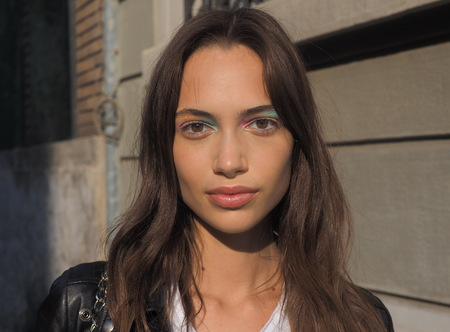 MILANO, Italy: September 20, 2019: Model closeup after ICEBERG fashion show during MFW spring  summer 20192020