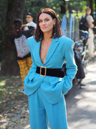 MILAN, Italy: September 21, 2019: Paola Turani street style outfit after MSGM fashion show during Milan fashion spring  summer 20182019.