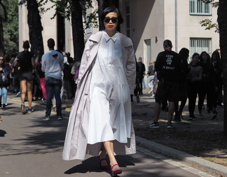 MILAN, Italy: September 21, 2019: Fashion blogger street style outfit after MSGM fashion show during Milan fashion spring  summer 20182019.