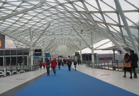 Rho, Milan, Italy: 8 December 2019: Fiera Milano Rho entrance. Fiera Milano Rho is an important international trade fair and conference on visual communication and commerce Publikacyjne
