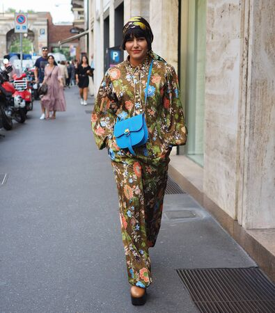 MILAN, Italy: 18 September 2019: Fashion blogger street style outfit before and after Peter Pilotto fashion show during Milan fashion week 2019 Publikacyjne