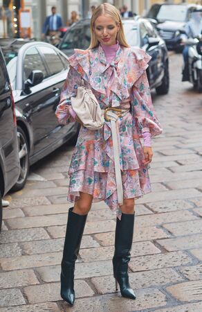MILAN, Italy: 18 September 2019: Leonie Hanne street style outfit before and after Peter Pilotto fashion show during Milan fashion week 2019