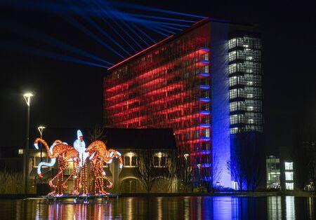 MILAN, ITALY, January 1, 2020: New Porta Nuova district, modern skycraper, fountain and artworks Lombardy, Italy.