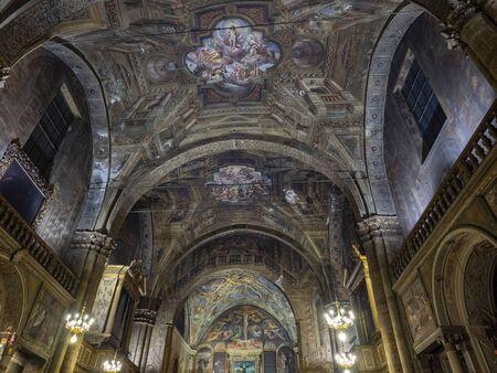 Brescia, Italy - December 29, 2019: SantAgata is a 15th-century, Roman Catholic church located on Corsetto SantAgata at Piazza della Vittoria in Brescia, region of Lombardy, Italy