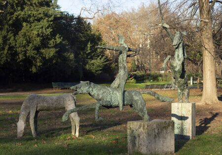 Milan, Italy 23.12.2019 Montanelli public park the second largest park in Milan. Bronze statues knights of the apocalypse. Publikacyjne