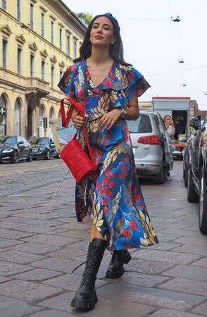 MILAN, Italy: 18 September 2019: Tamara Kalinic street style outfit before and after Peter Pilotto fashion show during Milan fashion week 2019 Publikacyjne