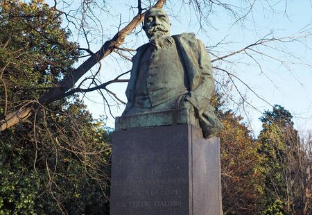 Milan, Italy: 23 December 2019: Statue of Giuseppe Giacosa in Indro Montanelli park, Milan, Lombardy, Italy
