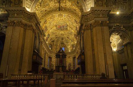 Milan, Italy: November 23, 2019: San Vittore al Corpo historic church interior in baroque style, Milan Lombardy, Italy.