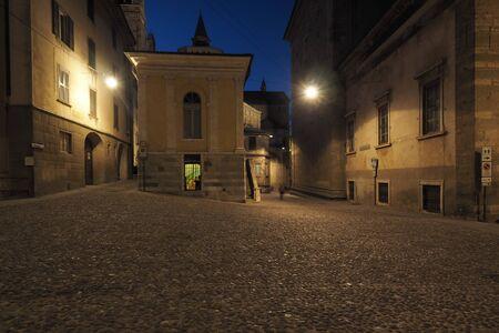 Square Mercato del Pesce in Bergamo alta, Lombardy, Italy.