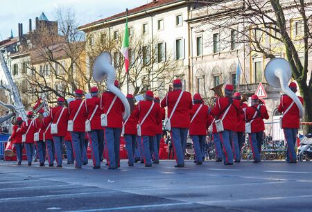Bergamo, Italy: 22 December 2019: Fanfare CItt? dei Mille plays and parade in Bergamo city for Christmas greetings to the population