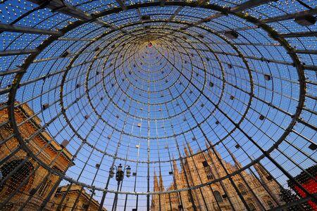 Milan, Italy: 23 December 2019: Modern christmas tree in Duomo square. Milan, Lombardy, Italy