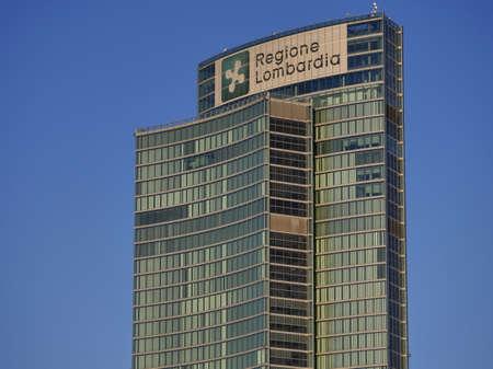 """Milan, Italy - February 16, 2020: Skyscraper of """"Palazzo della Regione"""", the public administrative Headquarters for the Italian Lombardy region in Milan, Lombardy,"""