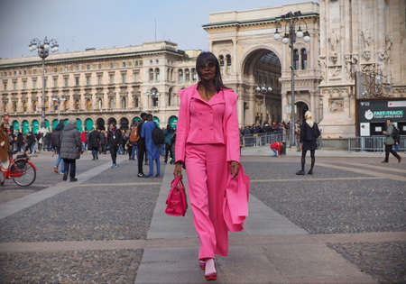 MILAN, Italy: February 23, 2019: Fashion blogger GIsele de Assis street style outfit after Gabriele Colangelo fashion show during Milan fashion week Fall / winter 2019/2020