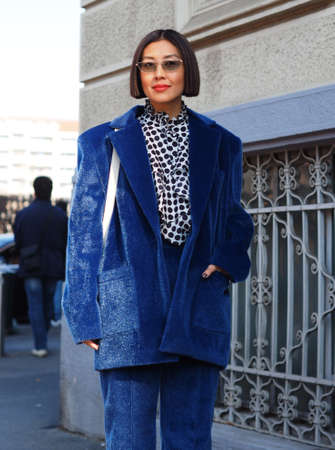 MILAN, Italy: 22 February 2020: Fashion blogger street style outfit before MSGM fashion show during Milan fashion week Spring / Summer