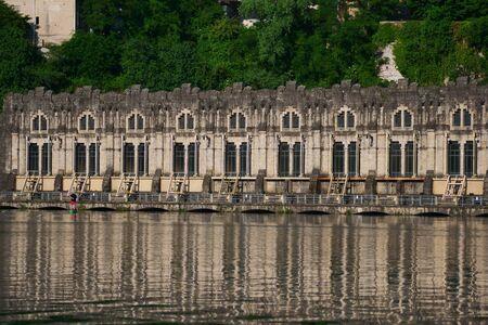 Trezzo ddaAdda view on hydroelectric power plant Taccani, Milan, Italy. Reklamní fotografie
