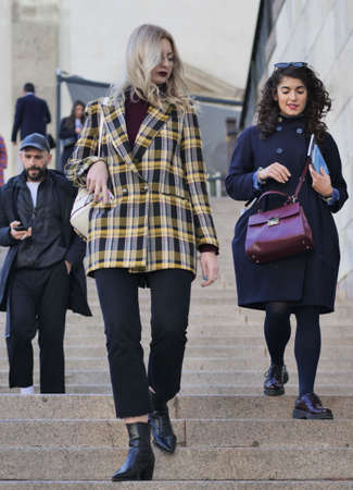 Milan, Italy: 20 February 2020: Fashion bloggers street style outfits after Vivetta fashion show during Milan fashion week Spring / Summer 2020